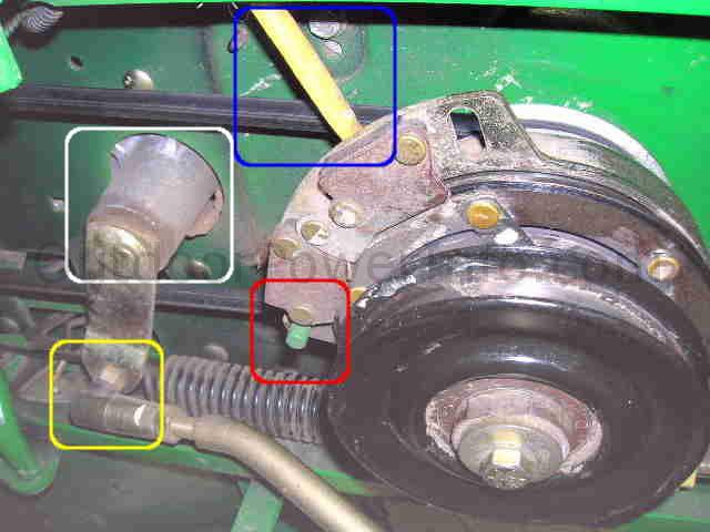 engine_pulley installation, repair and replacement of john deere lx266 hydro drive