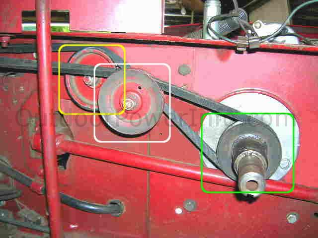_belt_front_right installation, repair and replacement of drive v belt 109428 on Toro Wheel Horse at reclaimingppi.co